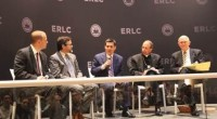 ERLC President Russell Moore speaks at a May 23 interfaith conversation on religious liberty in Washington, D.C. Others on the panel are (from left): ERLC Executive Vice President Phillip Bethancourt; Muslim spokesman Hamza Yusuf; Catholic spokesman William Lori; and Mormon spokesman Dallin Oaks. Photo from Christian Post
