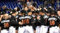 (PHOTO: REUTERS/STEVE MITCHELL) Miami Marlins tribute for Jose Fernandez, who died in a boating incident on September 24, 2016, in Miami.