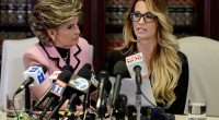 Jessica Drake, an adult film star, accused Donald Trump of offering her $10,000 to spend the night with him in 2006 at a press conference on Saturday (above)
